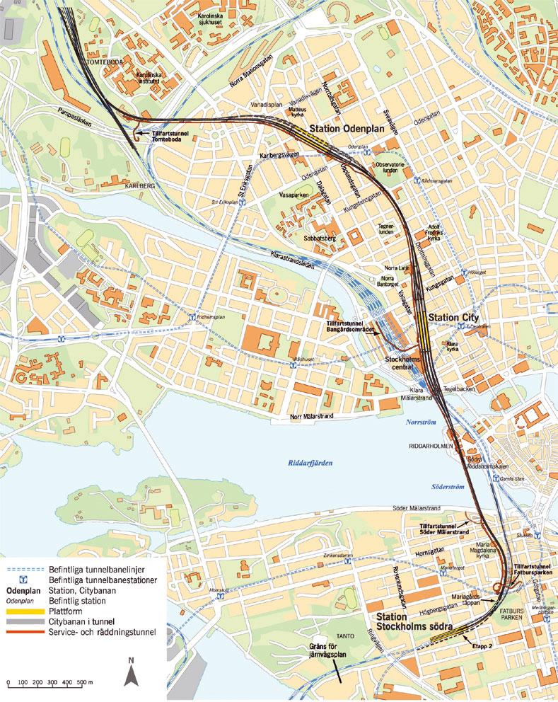Karta över Citybanans sträckning. Information från Vägverket